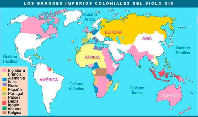 Mapa de los grandes imperios-coloniales del siglo XIX