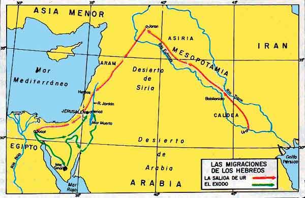 Mapa Migraciones Hebreos