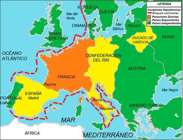 Mapa etapa imperial Napoleonica