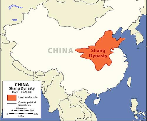 Mapa de la dinastia Shang
