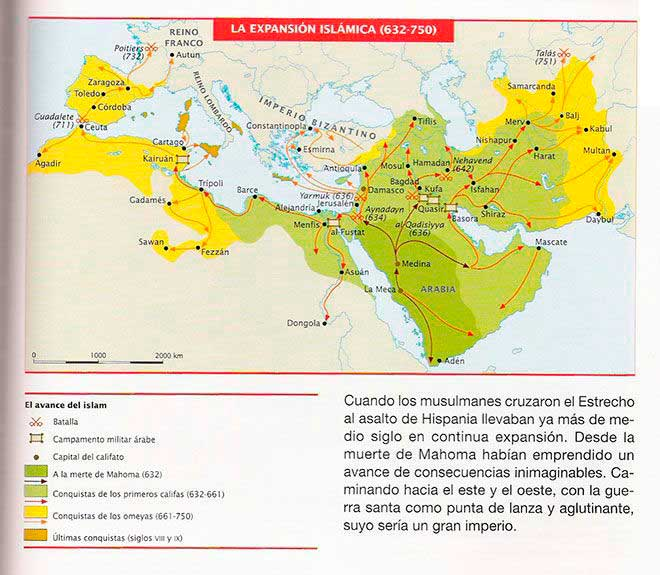 mapa expansion musulmana