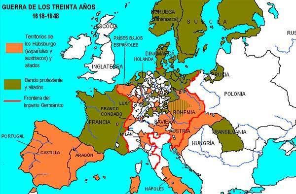 guerra 30 anos mapa