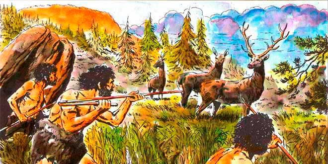 hombres cazando paleolitico