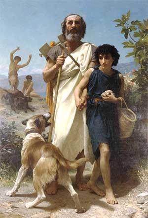 Pintura de Homero con su lazarillo