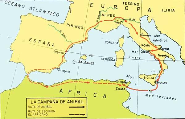 Mapa de la campaña de Aníbal