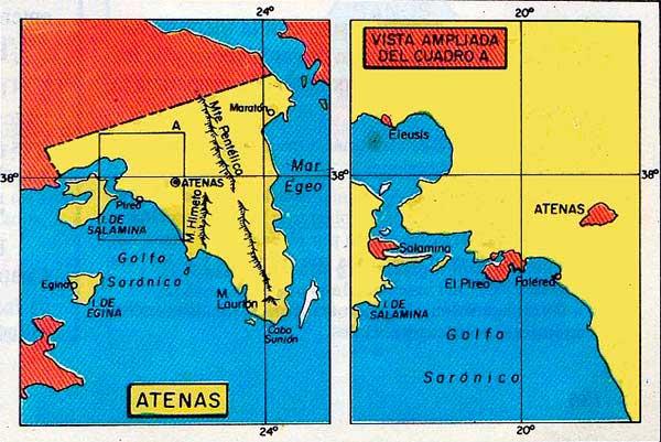 mapa antigua atenas