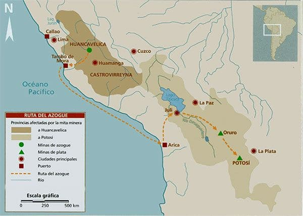 mapa azogue yacimiento virreinato