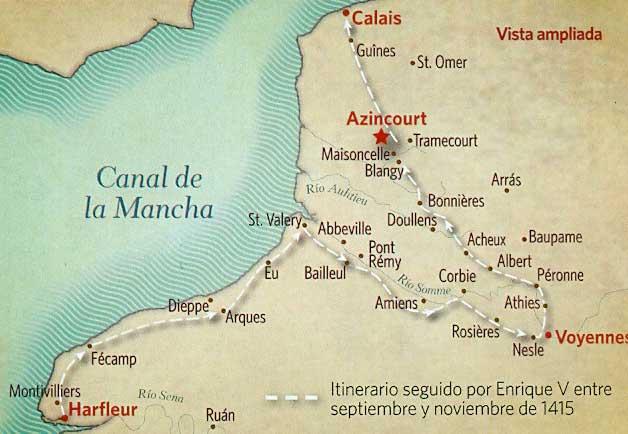mapa batalla agincourt