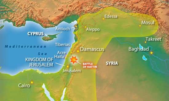 mapa batalla hattin