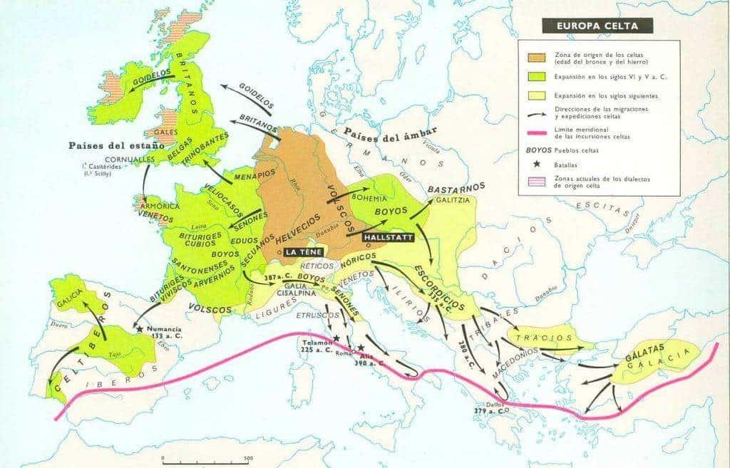 Mapa de la cultura Celta