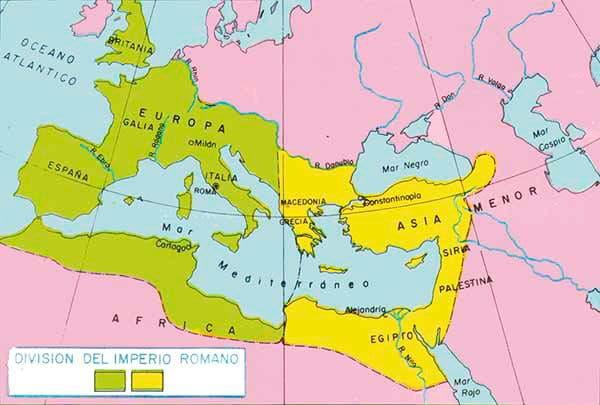 Mapa de la division del imperio romano