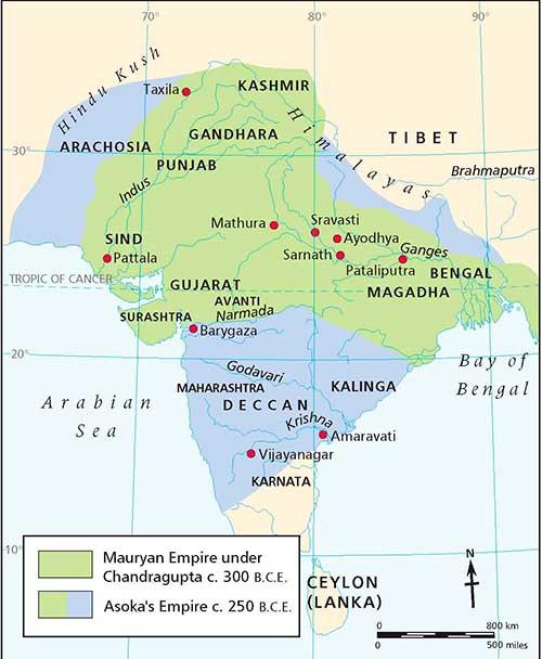 mapa imperio chandragupta y asoka