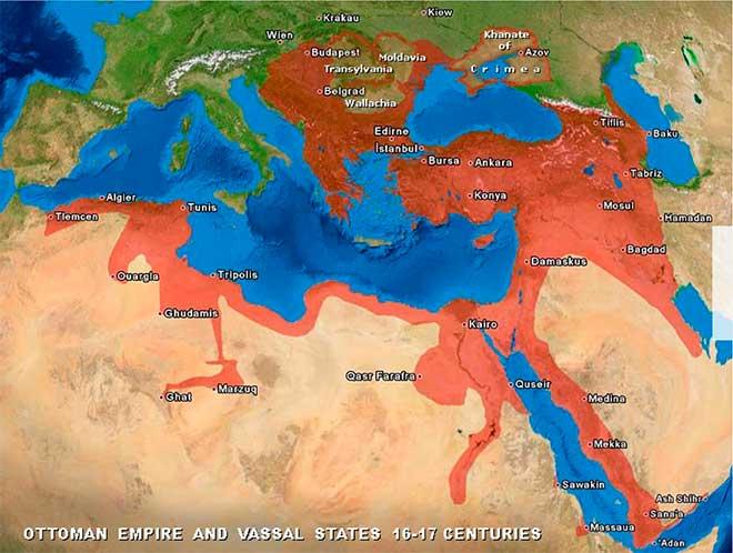 Mapa del Imperio Otomano