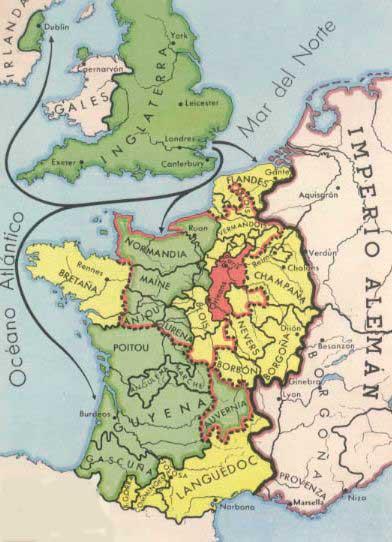 mapa ingleterra francia siglo xiii