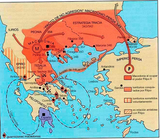 mapa macedonia bajo filipo II