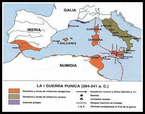 mapa primera guerra punica