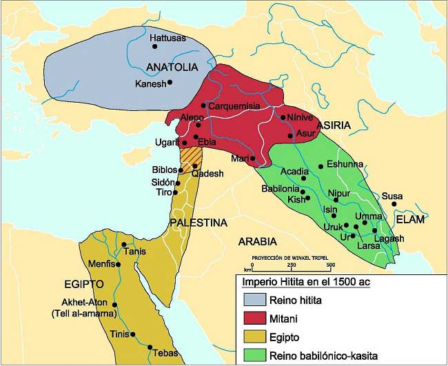 Mapa del reino Hitita