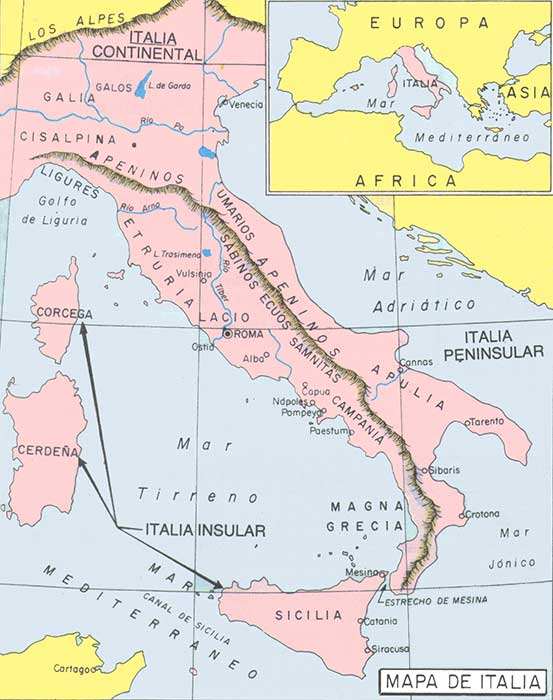 Mapa de la cultura romana
