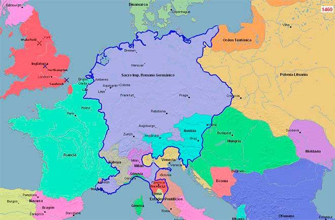 mapa sacro imperio germanico