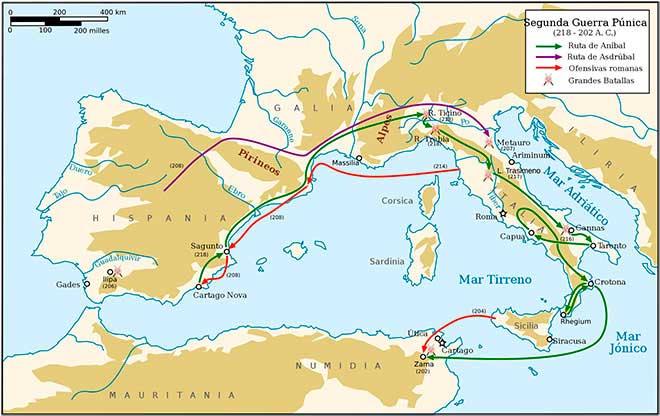 mapa segunda guerra punica