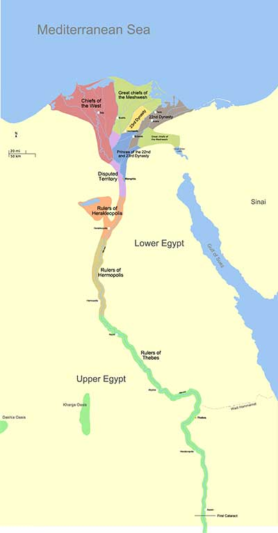 mapa tercer periodo intermedio egipto
