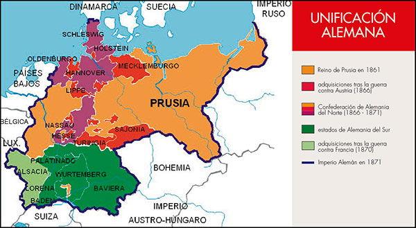 mapa unificacion alemana