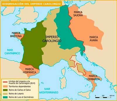 mapa division imperio carolingio