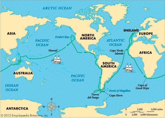 Ruta alrededor del mundo de Francis Drake